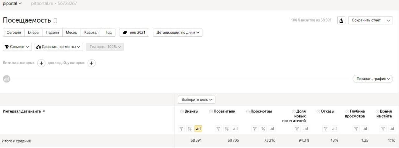 посещаемость сайта pitportal.ru (01.21)