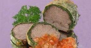 Мясо в зеленой оболочке
