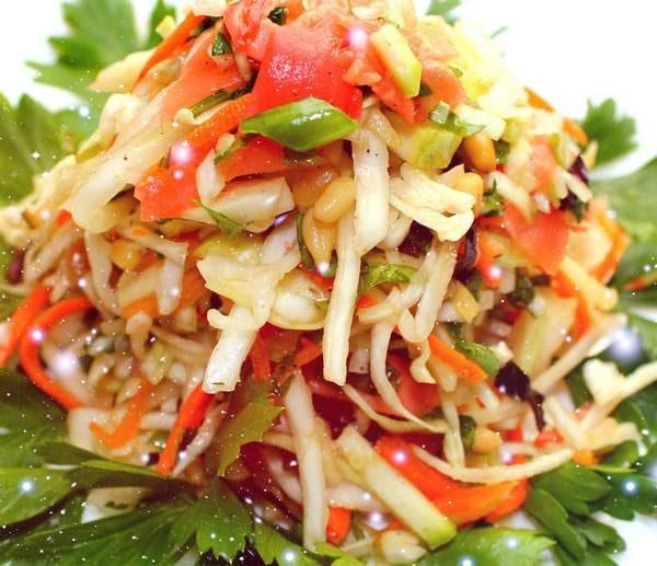 Салат из кальмаров с соусом ким чи